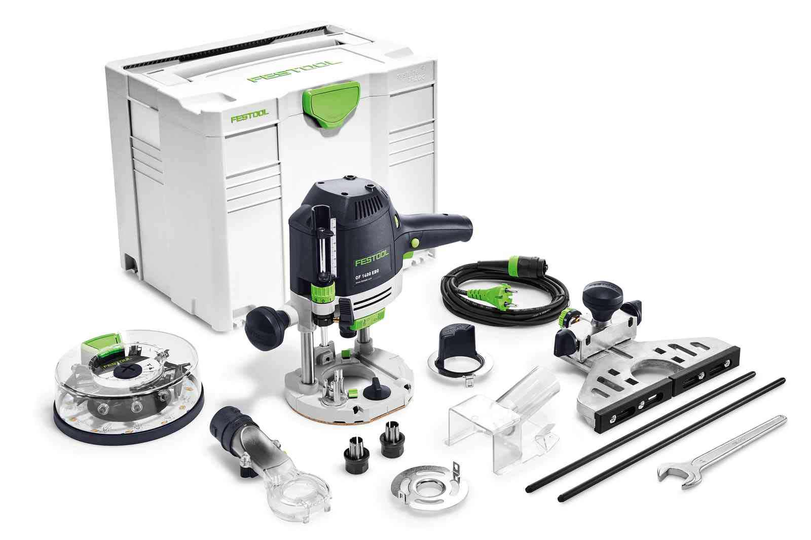 Défonceuse OF1400 EBQ-Plus + Box-OF-S 8/10x HW avec accessoires