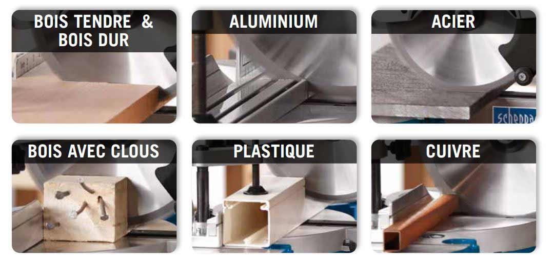 La HM110MP permet de pratiquer des découpes sur bois durs et tendres, cuivre, plastiques, métaux non ferreux et bois avec clous.