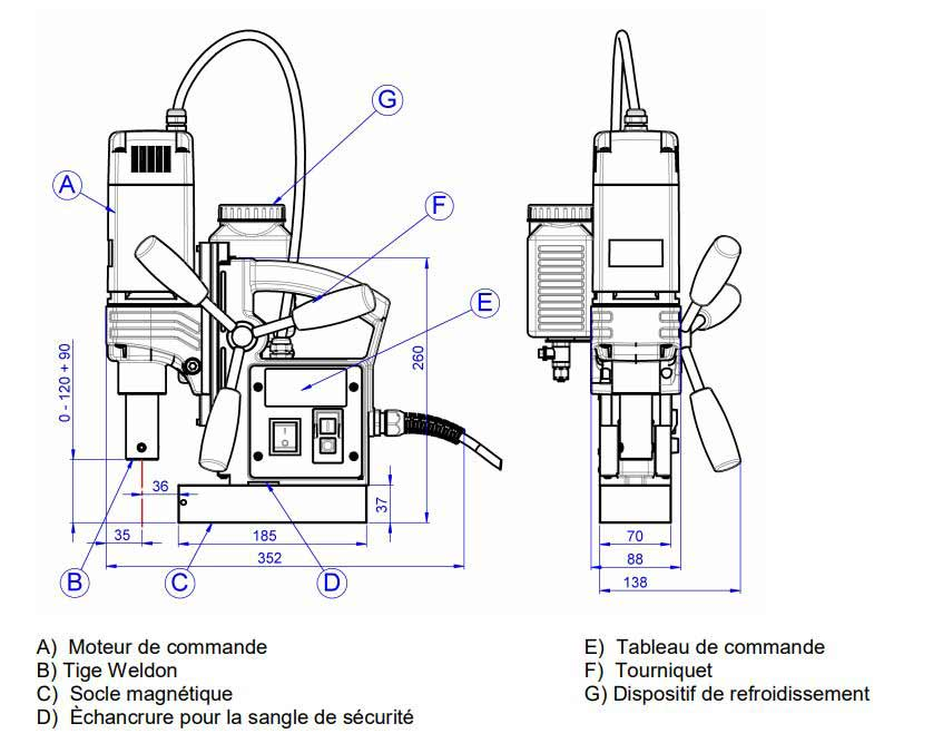 Schéma technique de la perceuse magnétique Promac MDA35-Q