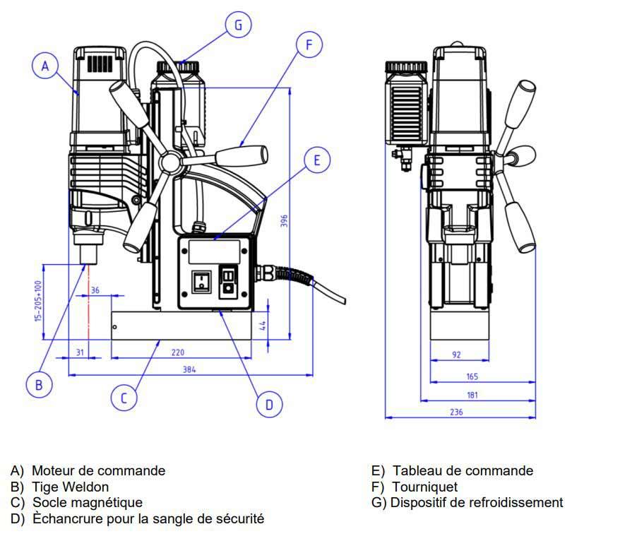 Schéma technique de la perceuse magnétique Promac MDA50-Q