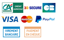 Moyens de Paiement : Carte Bancaire Visa Mastercard 3D Secure - Paypal - Chèque en 3 fois - Virement bancaire