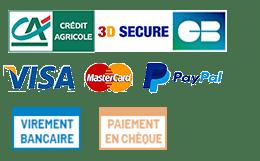 Moyens de Paiement : Carte Bancaire Visa Mastercard 3D Secure - Paypal - Chèque en 3 fois - Virement bancaire